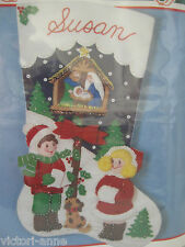 Bucilla Felt Stocking Kit Away in a Manger Christmas Nativity Dog 82821 New