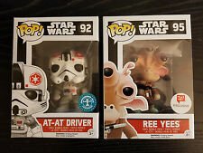 Funko Pop 92,95 Star Wars Walgreens Excl. AT-AT Driver & Ree Yees w/ protectors