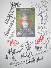Alice in Wonderland Signed Film Script X21 Johnny Depp Tim Burton Glover reprint