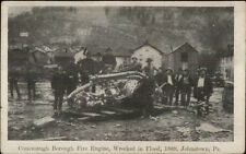 Johnstown PA Fire Engine Wrecked in Flood c1910 Postcard