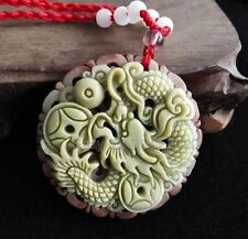 Chinese ZiPaoYu Purple Jade Carved Dragon Ball Lucky Pendant + Rope Necklace
