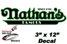 Nathan's Famous Hot Dog 3''x12'' Decal for Hot Dog Cart or Concession Stand