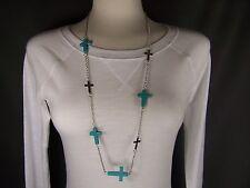 "Turquoise Aqua Blue Silver tone cross 34"" long necklace earrings set"