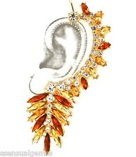 "Over Ear Cuffs Earrings Cuff  HOOK 3.5"" Crystal Gold Tone Amber Tones"