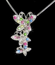 Butterflies Silver Tone Multi-color Austrian Crystal Pendant Necklace Butterfly