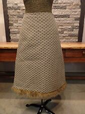 Dinwiddie's Skirt Retro A Line Taupe Jacquard Faux Fur Trim Women's Size Small