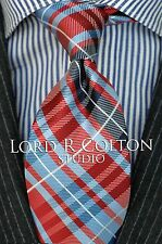 Lord R Colton Studio Tie - Red & Blue Plaid Check Necktie - $95 Retail New