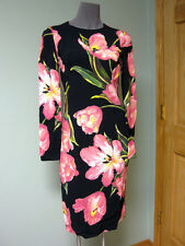 Dolce & Gabbana AUTH NWT Pink Tulip Blooms Cady Sheath Dress 42 Long Sleeves