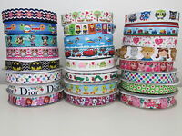 2 Printed Grosgrain Ribbon Dummy Hair Clips Cake Craft Hair Bow 1 Meter 22/25mm