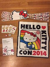 Hello Kitty Con 2014 Vinyl Backpack Headband Tattoos Guide Book Pins Swag Bag
