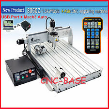 USB four 4 axis 8060 1500W cnc router engraver engraving milling machine handle