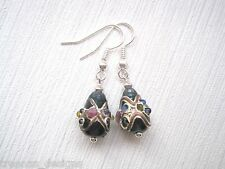 *LAMPWORK TEARDROP* Blue Pink Silver Gold Flower Glass Bead SP Drop Earrings