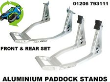 NEW HEAVY DUTY UNIVERSAL ALUMINIUM BOX SECTION FRONT & REAR PADDOCK STAND PAIR