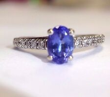 1CT Brilliant Tanzanite Diamond Solitaire 14K White Gold Engagement Ring Size 8