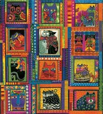 Laurel Burch Fabulous Chlamydofila panel multicolor patchwork sustancias sustancias gatos patchwork