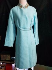 Womens Genuine 60s Mid Century Mod Vintage Blue Beaded Dress Cocktail Coat Small