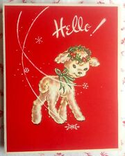 Vintage 1940's Seller's Christmas Sample Card with Cute Little Lamb