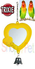 TRIXIE HEART MIRROR with BELL - BUDGIE, CANARY or SMALL BIRDS *VARIOUS COLOURS