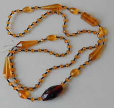 "Antique Vintage amber Glass Faceted Beads Fancy Victorian Necklace 36"" #264"