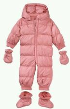 Baby GAP WARMEST PUFFER PINK POLKA DOT DOWN SNOWSUIT SIZE 0-6 month Missing Mitt