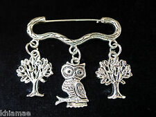 """Wise Old Owl"" Forest Cloak Brooch pagan silver pin owl tree wiccan jewellery"