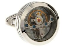 Watch Movement Steampunk Round Cufflinks Wedding Fancy Gift Box Free Ship USA
