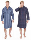 Mens 100% Brushed Cotton Nightshirt Striped or Checked Night Shirt Blue Red Navy