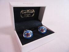 Penrose of London Designer Triumph Cufflinks Metallic Blue - RRP £115 #CL43