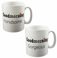 Good Morning Gorgeous & Handsome Valentine Coffee Mugs Set Valentines Day Gift