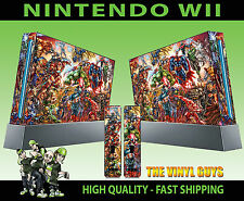 NINTENDO WII STICKER MARVEL DC ACTION HERO SCENE SUPERHEROES SKIN & 2 PAD SKINS