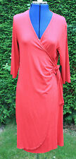 Country Casual red jersey long sleeve v neck dress size 14 calf length