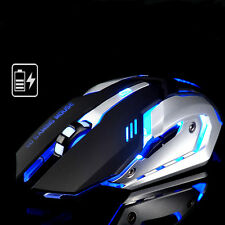 MOUOW A8 Rechargeable Mute 2.4G 1600DPI 6 Keys 7-Color Usb Wireless Gaming Mouse