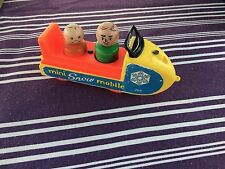 Vintage Fisher Price Little People Family Mini Snowmobile 1970 #705 w/figures
