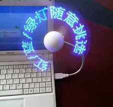 Mini USB Programmable Flashing LED Light DIY Messages Cooling Fan For Laptop PC