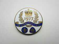 Girl Guides Boy Scouts Pin Badge Queen's Silver Jubilee White Blue Enamel 1977