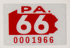 1966 Pennsylvania Registration Sticker,Reflective 3M Material,Very High Quality