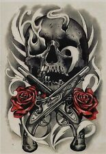 Temporary Tattoo Fake Tattoo Guns&Roses 17x11cm Medium wasserfest F-062