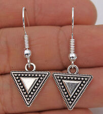 925 Silver Plated Hook - 1.3'' Bohemia Vintage Triangle Women Party Earrings #17