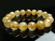 Natural Brazil Golden Hair Rutilated Quartz Beads Bracelet 12mm AAA