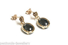 9ct Gold Hematite Oval Drop Earrings Made in UK Gift Boxed