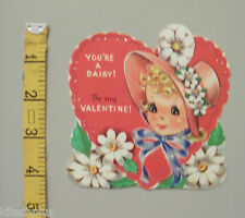 Vtg Valentine Card Pretty Girl Bonnet Hat Daisy Flowers Be My 50's UNUSED