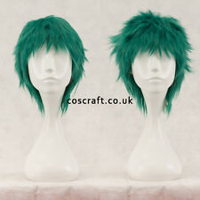 Short layered fluffy spikeable cosplay wig, midnight dark green, UK seller, Jack