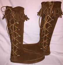Vintage Womens Size 7 MINNETONKA MOCCASINS SIDE LACE KNEE HI Hippie Fringe Boots