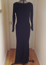 KAY UNGER NEW YORK Black formal long sleeve Maxi Evening Dress lined  Sz 8
