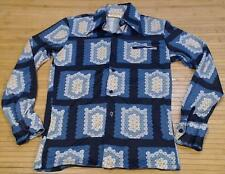 Vtg CASTLE Polyester Button Up Dress Shirt Geometric Prism Cubes Small 1970's