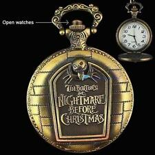 Hot The NIGHTMARE BEFORE CHRISTMAS Quartz Pocket Watch Chain Jack Skellington DH