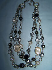 "Lia Sophia ""J.R. by Debbie"" Necklace, Silvertone/Glass & Resin Bead MSRP $78"