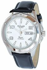 Omax Men's Quartz Watch White Silver Date Analogue Leather W-60356118156799
