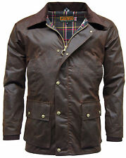 Men's Game Barker Waxed Cotton Jacket with Detachable Hood Tartan linning  S-XXL