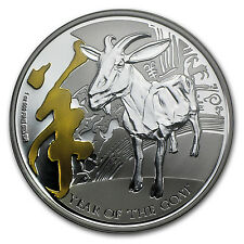 2015 1 oz Silver Niue $2 Lunar Goat (Gilded, w/Box & COA) - SKU #85159